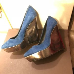 Blue suede Aldo wedges